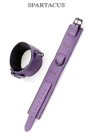 Bracelets chevilles cuir violet